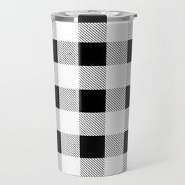 western country french farmhouse black and white plaid tartan gingham print Travel Mug