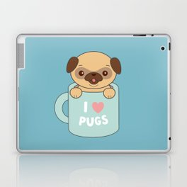 Kawaii Cute I Love Pugs Laptop & iPad Skin