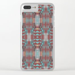 Coral Red Brown Turquoise Rustic Native American Indian Mosaic Pattern Clear iPhone Case