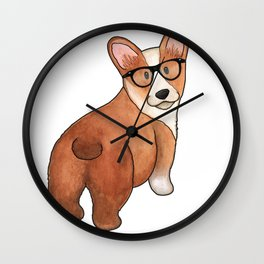 Hipster Corgi Wall Clock