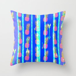 Bright Boho Pineapple Pattern Throw Pillow
