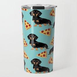dachshund pizza black and tan doxie dog breed cute pattern gifts Travel Mug