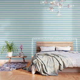Blue lagoon - solid color - white stripes pattern Wallpaper