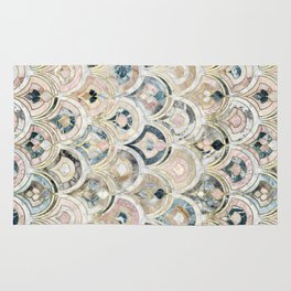 Art Deco Marble Tiles in Soft Pastels Rug