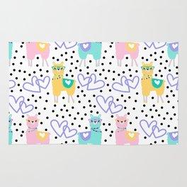 Purple Heart Llama Colorful Pattern Print Rug