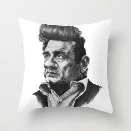 Johny Cash Caricature Throw Pillow