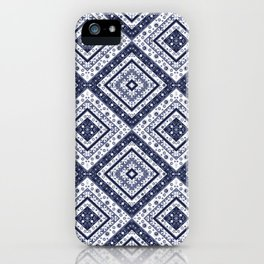 Strict , white blue ornament. iPhone Case