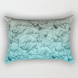 Turquoise Blue Ombre Book Flowers Rectangular Pillow