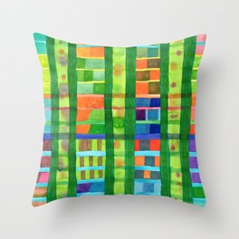 Colored Fields With Bamboo Throw Pillow