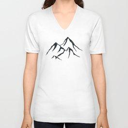 MOUNTAINS Black and White Unisex V-Neck
