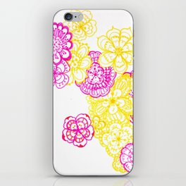 28. Colourful Pink and Yellow Flower in Henna World iPhone Skin