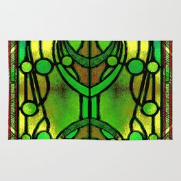 Green and Gold Stained Glass Victorian Design Rug