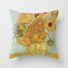 STILL LIFE: VASE WITH TWELVE SUNFLOWERS - VAN GOGH Throw Pillow