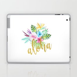 Hawaiian multicolored floral bouquet with faux gold aloha brush script Laptop & iPad Skin