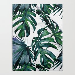Tropical Palm Leaves Classic on Marble Poster
