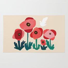 Poppy flowers and bird Rug