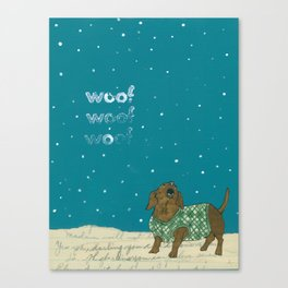 Dogs In Sweaters Barking at Stars or Snow Canvas Print