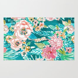 SUMMER IN MAUI Hibiscus Floral Rug