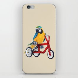 Parrot macaw on red bike iPhone Skin