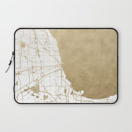 Chicago Gold and White Map Laptop Sleeve