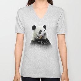 Panda contemplator Unisex V-Neck