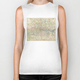 Vintage Map of London England (1899) Biker Tank