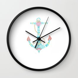 Coloured Anchor Nautical Sailors Wall Clock