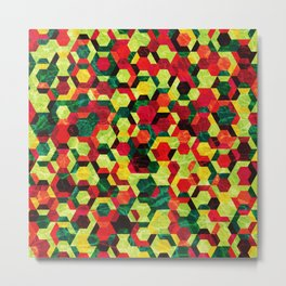 Colorful Half Hexagons Pattern #05 Metal Print