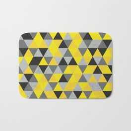 Sunny Yellow and Grey / Gray - Hipster Geometric Triangle Pattern Bath Mat
