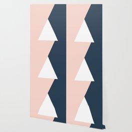 Elegant blush pink & navy blue geometric triangles Wallpaper