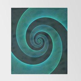 Magical Teal Green Spiral Design Throw Blanket