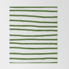 Simply Drawn Stripes in Jungle Green Throw Blanket