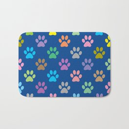 Colorful paw prints pattern Bath Mat