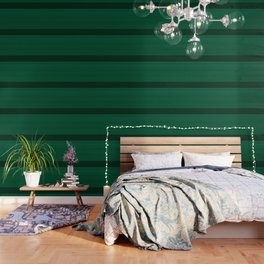 Dark Emerald Green with Light Blue Stripes Wallpaper