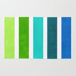 Aqua & Green Geometric Pattern Rug