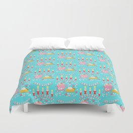 Holiday Candy, gingerbread, coffee, hot chocolate, pie and candles, Christmas, hygge Duvet Cover