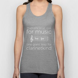 Crossing the break (clarinet) - white text for dark t-shirts Unisex Tank Top