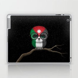 Baby Owl with Glasses and Jordanian Flag Laptop & iPad Skin