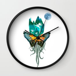 Surreal Paradise Floral Print Wall Clock