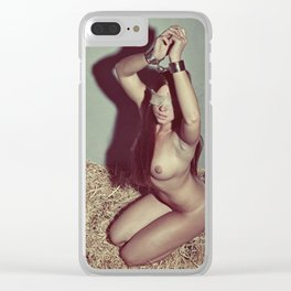 Nude woman cuffed with heavy handcuffs Clear iPhone Case
