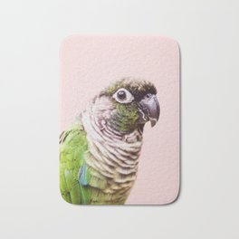 Parot Photography | Peek-a-boo | Tropical | Wildlife | Bird | Blush Pink Bath Mat