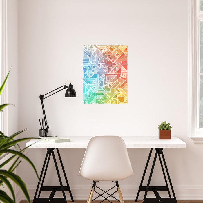 BRIGHT VIBRANT GRADIENT GEOMETRIC SHAPES RAINBOW PRINT TILED MOSAIC TIE DYE COLORFUL Poster