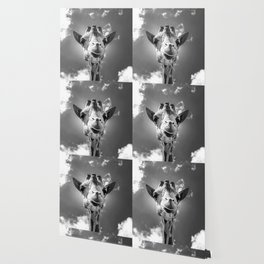 Cool Giraffe Black and White Wallpaper