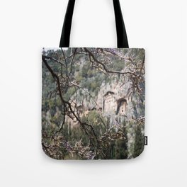 Wisteria Buds Surrounding the Lycian Tombs Dalyan Tote Bag