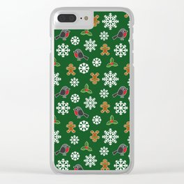 Christmas / Winter Robin Holly Gingerbread Man Snowflakes Pattern Green Clear iPhone Case