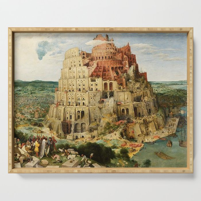 Tower Of Babel Pieter Bruegel The Elder Serving Tray