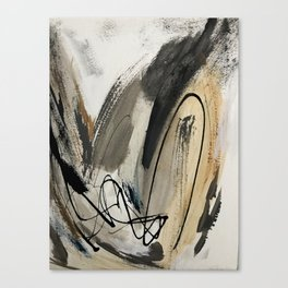 Drift [5]: a neutral abstract mixed media piece in black, white, gray, brown Canvas Print