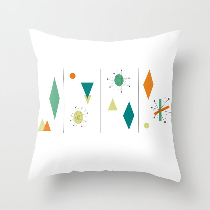 1950s Mid Century Design Throw Pillow