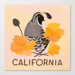 California State Bird and Flower Canvas Print