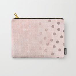 Rose Gold Pastel Pink Polka Dots Carry-All Pouch